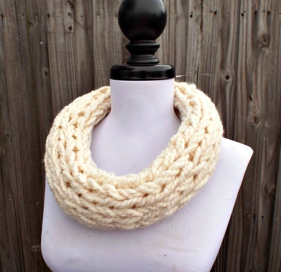 Knit Cowl - Polar Circle Scarf Cowl in Starlight Cream and Metallic Gold - Cream Scarf Cream Cowl Womens Accessories