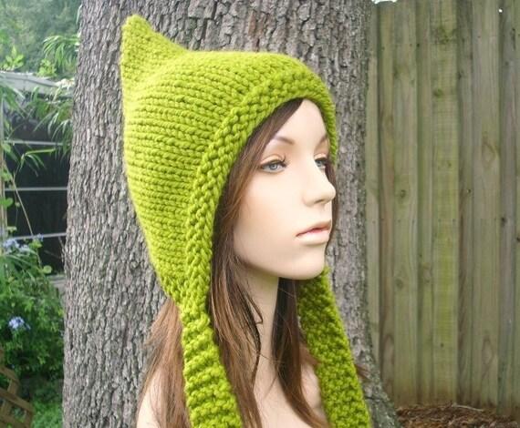 Green Womens Hat - Green Pixie Hat Lemongrass Green Knit Hat - Green Hat Womens Accessories Winter Hat - READY TO SHIP