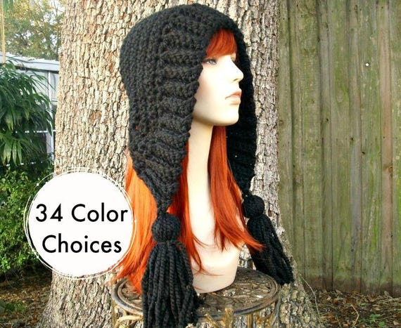 Black Crochet Hat Women Hat Crochet Hood Hat Black Tassel Hat Black Ear Flap Hat - Black Hat Black Hood Winter Hat