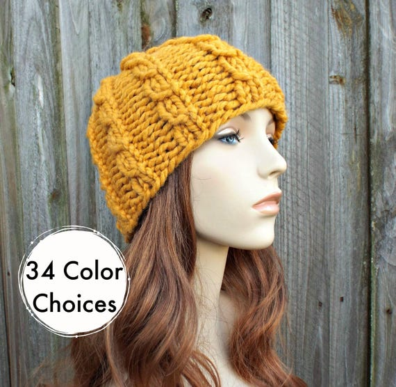 29f2fd576bac3 Chunky Knit Hat Mens Hat Womens Hat Cable Beanie in Yellow