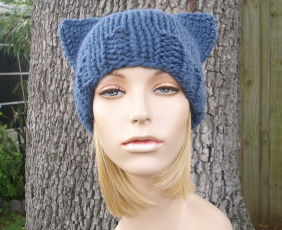 Denim Blue Cat Hat Knit Hat Womens Hat - Cat Beanie Blue Hat Blue Beanie Chunky Knit Womens Accessories Winter Hat