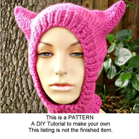 Instant Download Knitting Pattern - Knit Hat Pattern Cat Hat Balaclava Ski Mask Pattern Cat Hood Pattern - Womens Accessories
