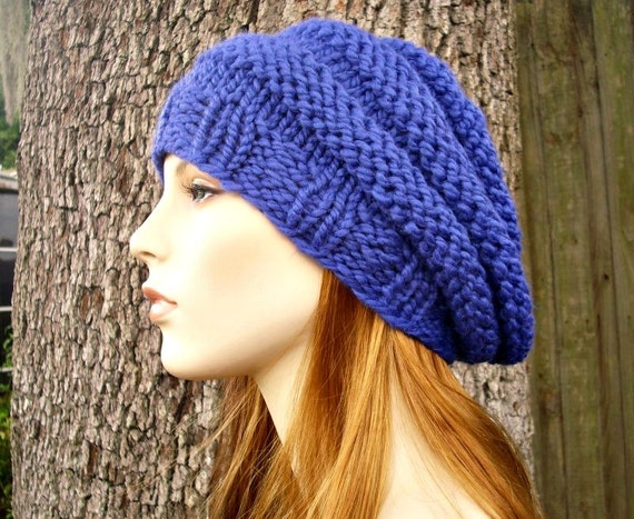 Cobalt Blue Beret Chunky Knit Hat Womens Hat - Beehive Beret Blue Hat Blue Beret Blue Beanie Womens Accessories - READY TO SHIP
