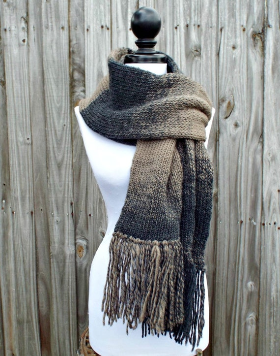 Double Knit Scarf With Fringe, Charcoal Grey and Taupe Brown Scarf, Mens Scarf, Womens Scarf, Thick Winter Scarf - 19 Color Choices