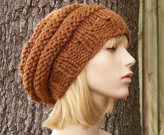 Knit Hat Womens Hat Slouchy Beanie - Original Beehive Beret Hazelnut Brown Knit Hat - Brown Hat Brown Beret Brown Beanie Womens Accessories