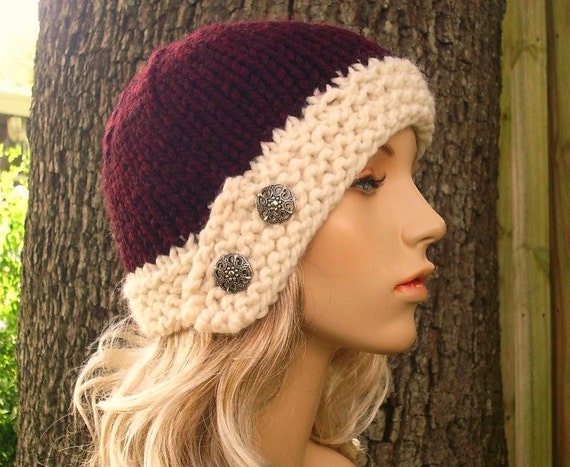 Knit Hat Womens Hat - Cloche Hat in Oxblood Red Wine and Cream Knit Hat - Red Hat Cream Hat Red Beanie Womens Accessories Winter Hat
