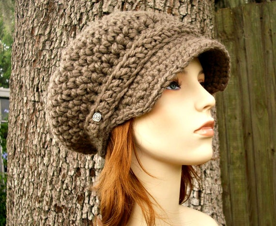 Crochet Hat Womens Hat Taupe Newsboy Hat - Slouchy Hat Brown Newsboy Hat Taupe Brown Crochet Hat - Womens Accessories - READY TO SHIP
