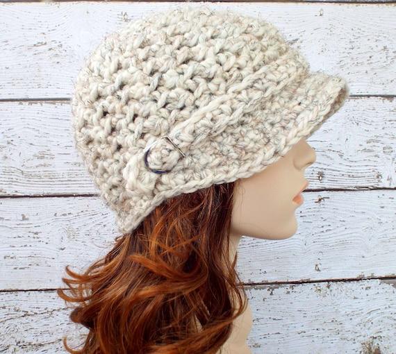 Crochet Hat Womens Hat Newsboy Hat - Jockey Cap in Wheat Cream Tweed - Crochet Newsboy Hat Crochet Hat - Womens Accessories