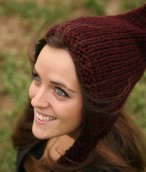 Chunky Knit Hat Women Red Pixie Hat Claret Wine Pixie Hat Wine Knit Hat - Red Hat Wine Hat Womens Accessories Winter Hat
