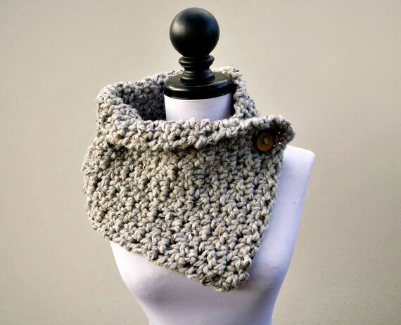 Crocheted Cowl - Lucienne Cowl Scarf in Grey Tweed - Grey Cowl Grey Scarf Womens Accessories
