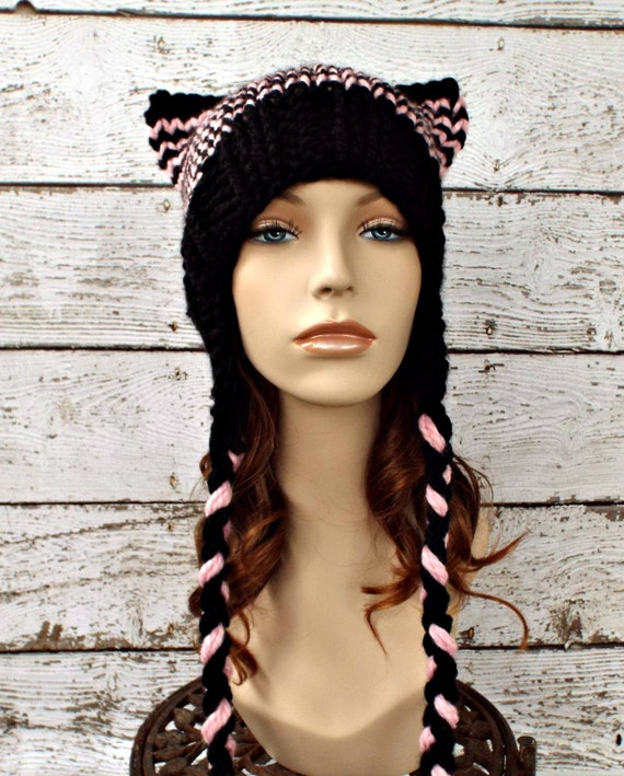 Knit Hat Womens Hat - Braided Ties Ear Flap Cat Hat in Pale Pink and Black Knit Hat - Black Hat Black Beanie Pink Pussyhat Pink Pussy Hat