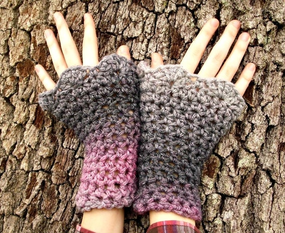 Crocheted Wrist Warmers - Wrist Warmers Pink and Grey Shadow - Pink Gloves Grey Gloves Pink Arm Warmers Grey Arm Warmers Womens