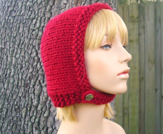 Knit Hat Womens Hat - Pixie In Training Aviator Cap in Cranberry Red Knit Hat - Red Hat Red Bonnet Red Beanie Womens Accessories Winter Hat