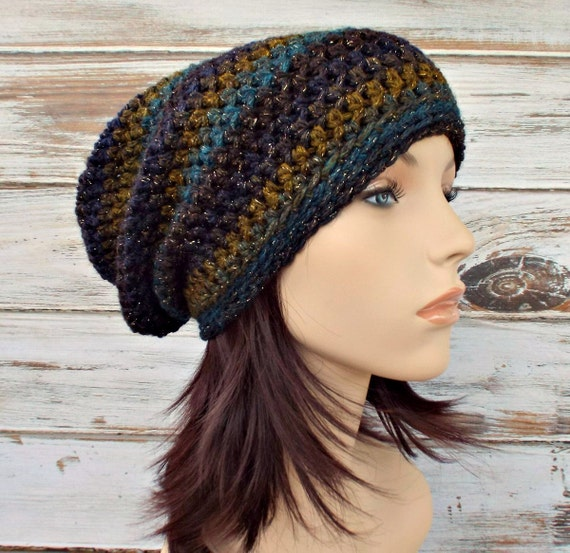 Crochet Hat Womens Hat - Leighton Slouchy Striped Beanie Hat in Borealis Purple Blue Yellow Blue Hat Womens Accessories
