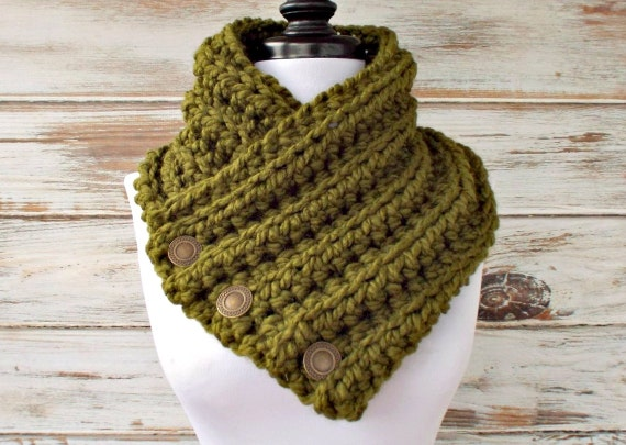 Crochet Cowl - Wellington Cowl in Olive Green - Olive Green Scarf Olive Green Cowl Womens Accessories
