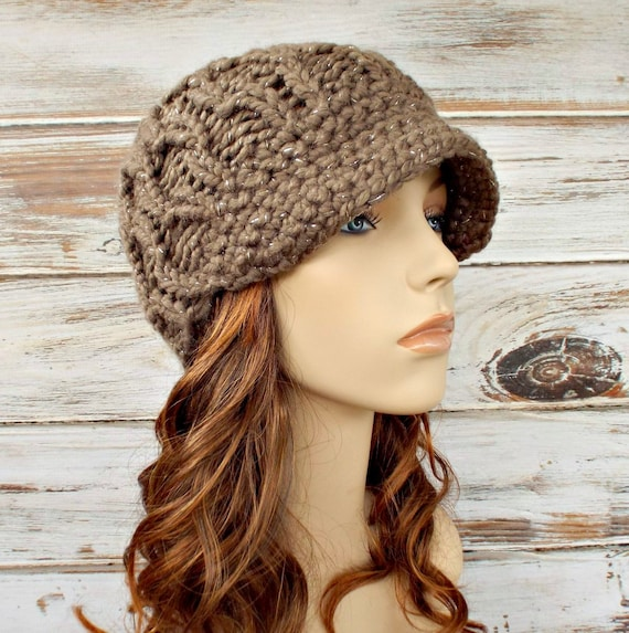Knit Hat Womens Hat Taupe Newsboy Hat - Amsterdam Beanie with Visor in Gemstone Taupe Metallic Brown Knit Hat - Womens Accessories