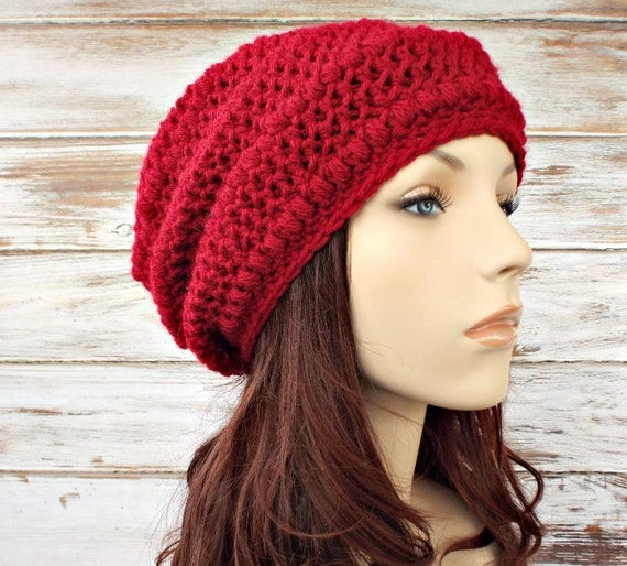Crochet Hat Womens Hat Red Hat Red Beanie - Penelope Puff Stitch Slouchy Beanie Hat Cranberry Red Crochet Hat - Womens Accessories