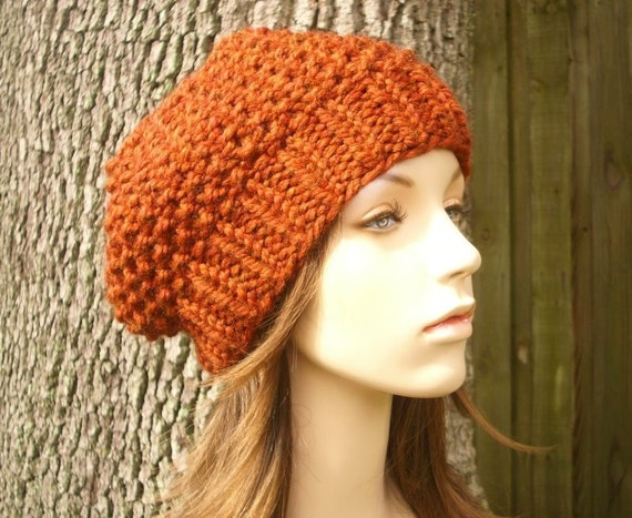 Burnt Orange Knit Hat Orange Womens Hat Slouchy Beanie - Seed Beret Orange Hat Orange Beret Orange Beanie Womens Accessories Fall Fashion