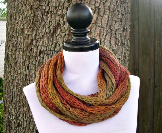 Brown Circle Scarf Brown Infinity Cowl - Earthen Brown Cowl Brown Scarf - READY TO SHIP