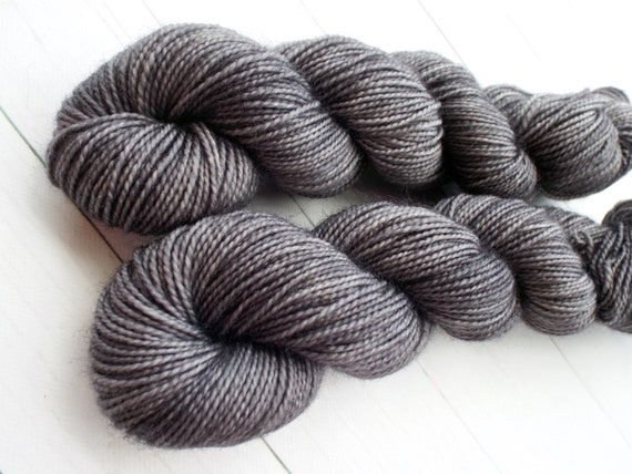 Hand Dyed Sock Yarn Superwash Wool Nylon 80/20 Fingering Weight Yarn Sock Yarn 50 Grams - Tonal Charcoal Grey Yarn - Grey Sock Yarn