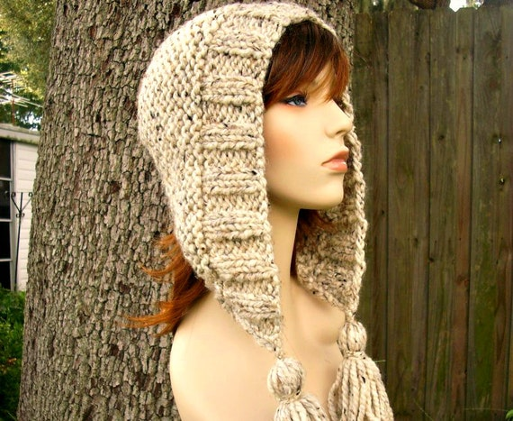 Knit Hat Womens Hat Knit Hood - Tassel Hat Oatmeal Knit Hat - Oatmeal Hat Oatmeal Hood Oatmeal Ear Flap Hat Warm Winter Hat