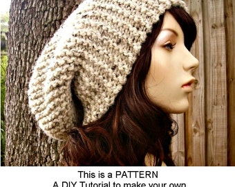 Instant Download Knitting Pattern - Knit Hat Knitting Pattern - Knit Hat Pattern for Slouch Hat - Womens Hat Pattern - Womens Accessories