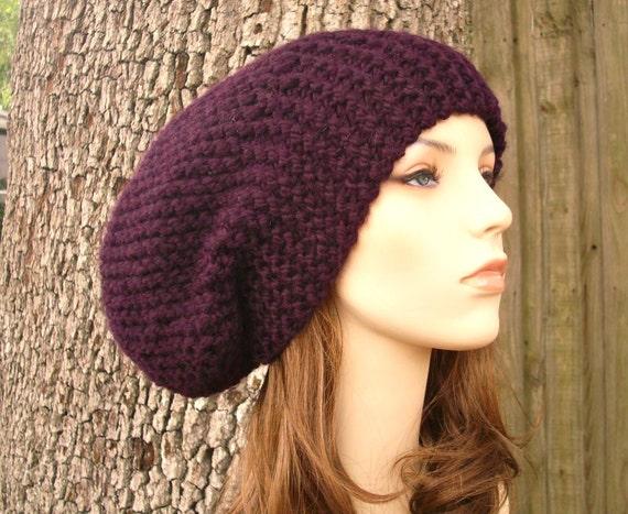 Purple Hat Purple Beanie Womens Hat Slouchy Beanie - Oversized Beanie Slouchy Hat Eggplant Purple Knit Hat - Womens Accessories Winter Hat