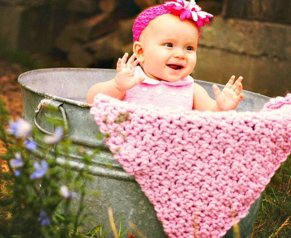 Crocheted Pink Baby Blanket Photo Prop, Travel Blanket, Stroller Blanket, Baby Pink Blanket 20 x 20