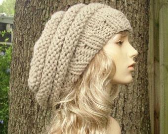 Knit Hat Womens Hat Slouchy Beanie - Oversized Beehive Beret Hat Linen Cream Knit Hat - Cream Hat Linen Hat Cream Beret Womens Accessories
