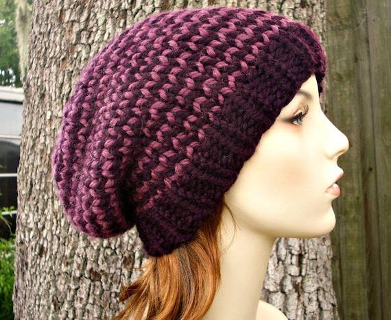 Purple Stripes Knit Hat Purple Womens Hat Slouchy Beanie - Toque Beanie Hat - Purple Beanie Purple Hat Womens Accessories Winter Hat