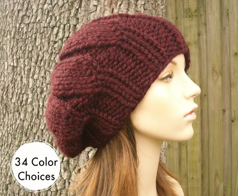 a56e3d3cad2 Knit Hat Red Womens Hat Slouchy Beanie Urchin Beret in