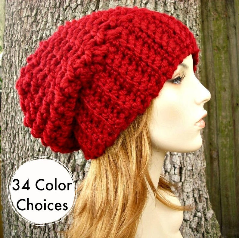 08ec80b5fd1 Cranberry Red Crochet Hat Red Womens Hat Slouchy Beanie