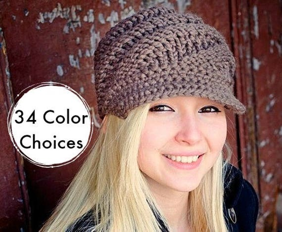 Taupe Chunky Knit Hat Womens - Swirl Beanie with Visor in Taupe Newsboy Hat - Taupe Hat Taupe Beanie Knit Accessories - 34 Color Choices
