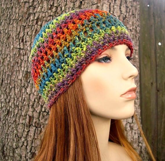 Crochet Hat Womens Hat - Skater Boy Summer Beanie Optimistic Rainbow Crochet Hat - Rainbow Hat Rainbow Beanie Womens Accessories Winter Hat