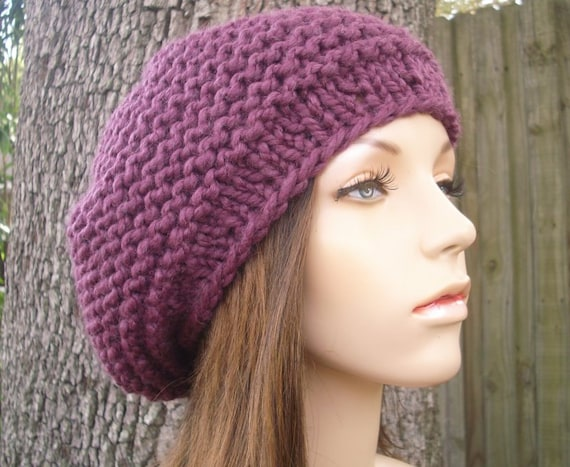 Purple Womens Hat Slouchy Beanie - Tribeca Beret Fig Purple Knit Hat - Purple Beret Purple Hat Womens Accessories Fall Fashion Winter Hat
