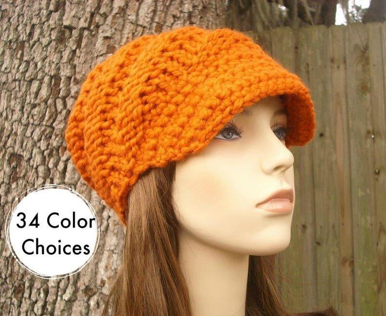 8d951a5730f7a Chunky Knit Hat Womens Hat Orange Newsboy Hat Swirl Beanie