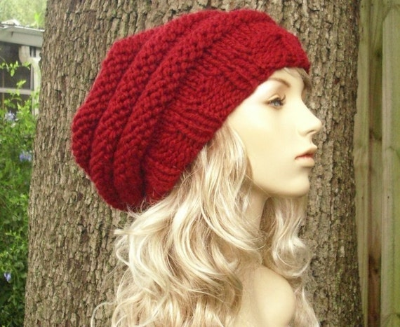 Knit Hat Womens Hat Slouchy Beanie - Oversized Beehive Beret Hat in Cranberry Red Knit Hat - Red Hat Red Beret Red Beanie Womens Accessories