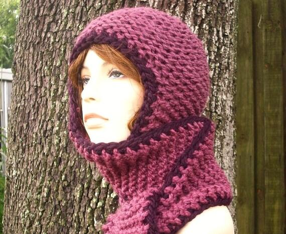 Knit Hat Hooded Scarves Garter Nomad Scarf Ear Flap Hat Fig Purple Knit Hat - Purple Hat Purple Scarf Purple Hooded Scarf