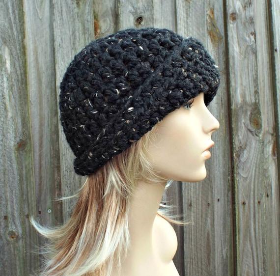 Crochet Hat Womens Hat 1920s Flapper Hat Garbo Cloche Hat Tweed Black Crochet Hat - Black Hat Black Beanie Winter Hat - READY TO SHIP