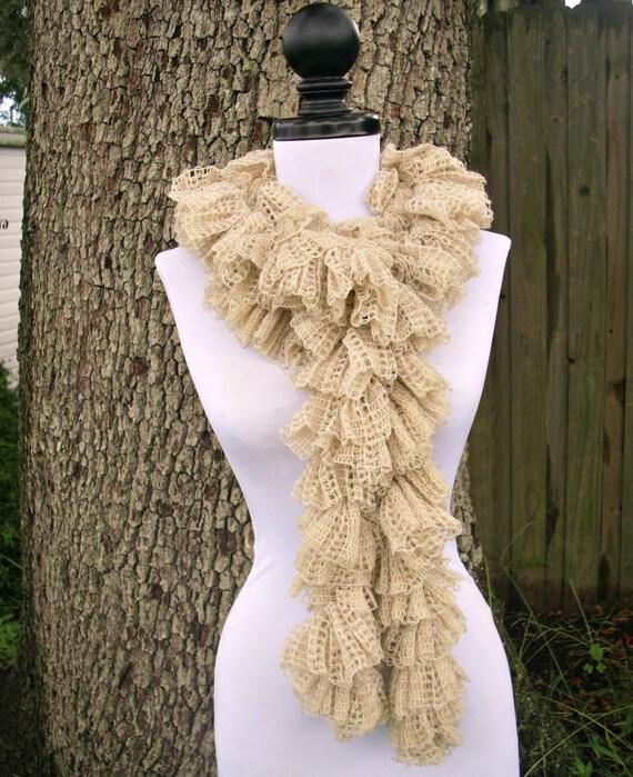 Crocheted Scarf - Elizabethan Ruffle Scarf in Cream Boa Scarf - Cream Scarf Cream Boa Cream Ruffle Scarf Womens Accessories