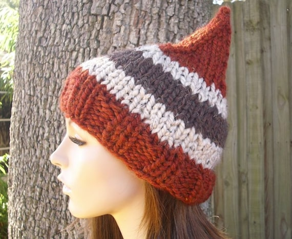 Knit Hat Womens Hat - Rust Gnome Hat in Rustica Knit Hat - Rust Hat Rust Beanie Orange Hat Orange Beanie Womens Accessories Winter Hat