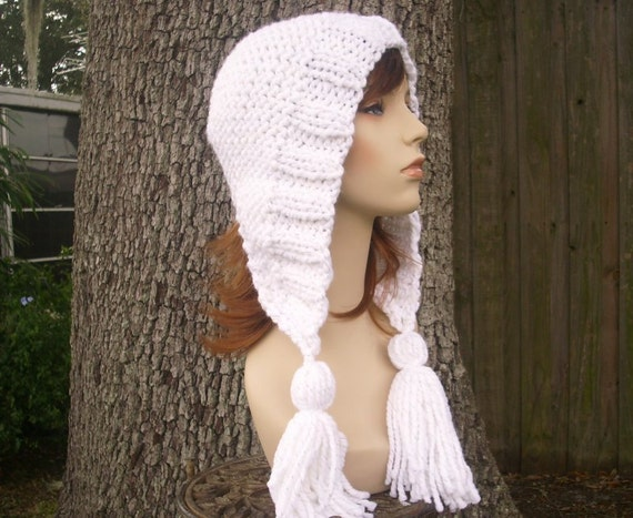 Knit Hat Womens Hat Knit Hood - Tassel Hat Ear Flap Hat in Celebration Metallic White Knit Hat - White Hat Womens Accessories Winter Hat