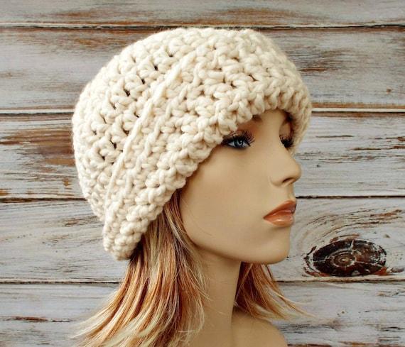 Cream Cloche Hat - Cream Crochet Hat Cream Womens Hat - 1920s Flapper Hat Garbo Cloche Hat Cream Hat Womens Accessories Winter Hat