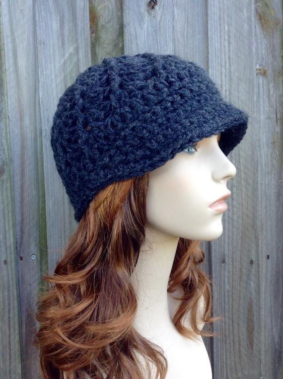 Grey Crochet Hat Grey Womens Hat Charcoal Grey Newsboy Hat - Pippa Swirl Crochet Newsboy Hat - Grey Hat Womens Accessories