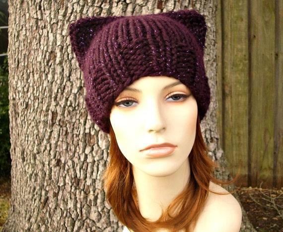 Knit Hat Womens Hat - Purple Cat Beanie Hat in Galaxy Metallic Eggplant Purple Knit Hat - Purple Hat Purple Beanie Pussyhat Pussy Hat