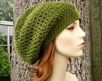 Womens Hat Slouchy Beanie - Weekender Slouchy Hat in Olive Green Crochet Hat - Green Hat Green Beanie Womens Accessories
