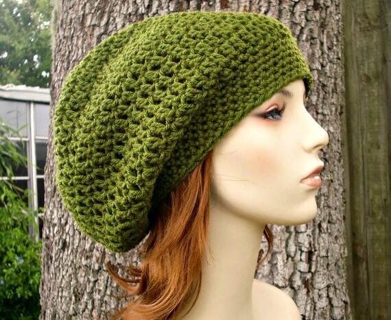 Womens Hat Slouchy Beanie - Weekender Slouchy Hat in Olive Green Crochet Hat - Green Hat Green Beanie Womens Accessories
