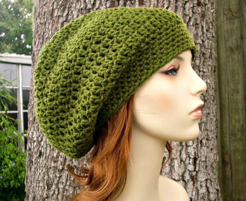 95fafce59c2e8 Womens Hat Slouchy Beanie - Weekender Slouchy Hat in Olive Green Crochet Hat  - Green Hat Green Beanie Womens Accessories