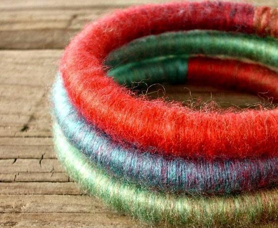 Bangle Bracelets - Yarn Bracelets - Yarn Wrapped Soft Fibre Bracelets in Parrot Red Blue Green Womens Accessories - READY TO SHIP