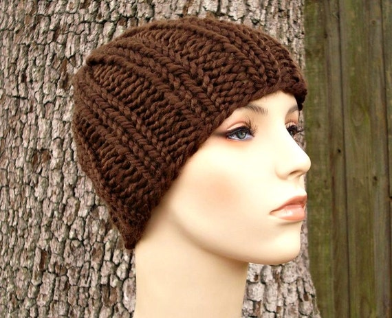 Brown Mens Hat Brown Womens Hat Ribbed Beanie Chocolate Brown Knit Hat Brown Hat Brown Beanie Winter Hat - READY TO SHIP